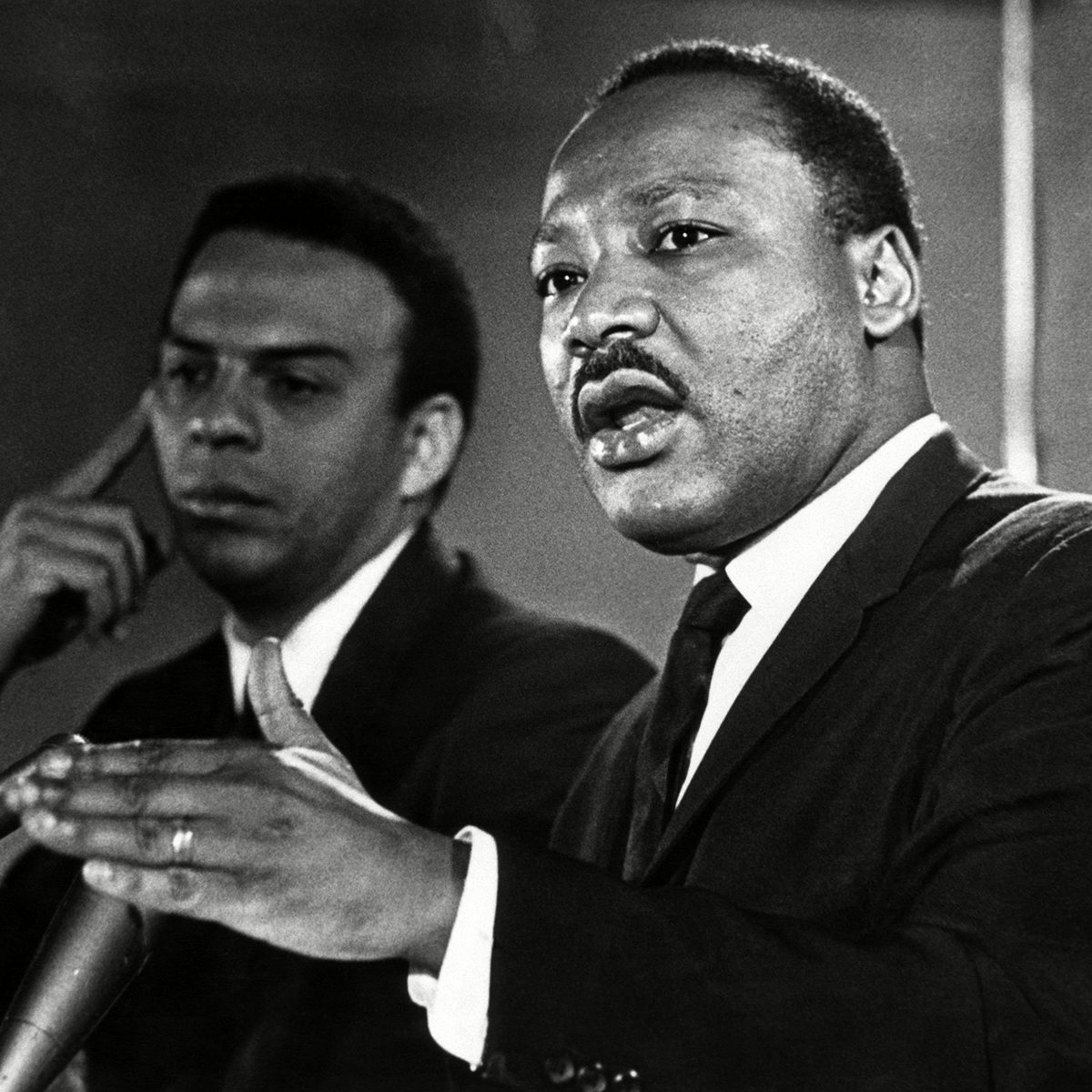 American civil rights activists Andrew Young and Dr. Martin Luther King Jr.