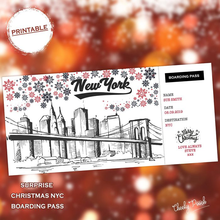 New York Boarding Pass, Surprise Trip, NYC Printable Boarding Card, Personalised Gift, Faux Boarding Pass, Boarding Card Template