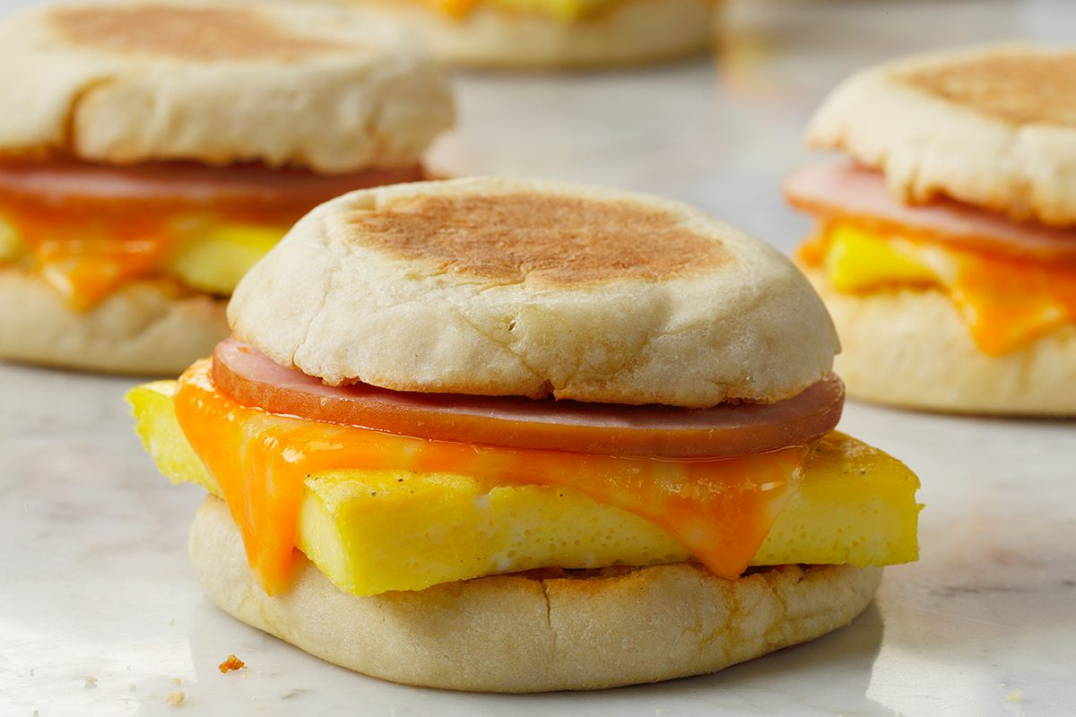 Freezer Breakfast Sandwiches; multiple sandwiches all assembled and beautiful; Cheese Melt