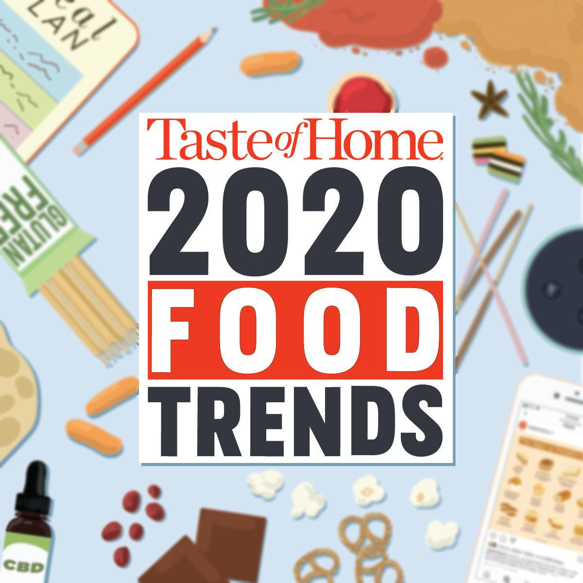 Taste of Home's 2020 Food Trends graphic on illustrated background of food