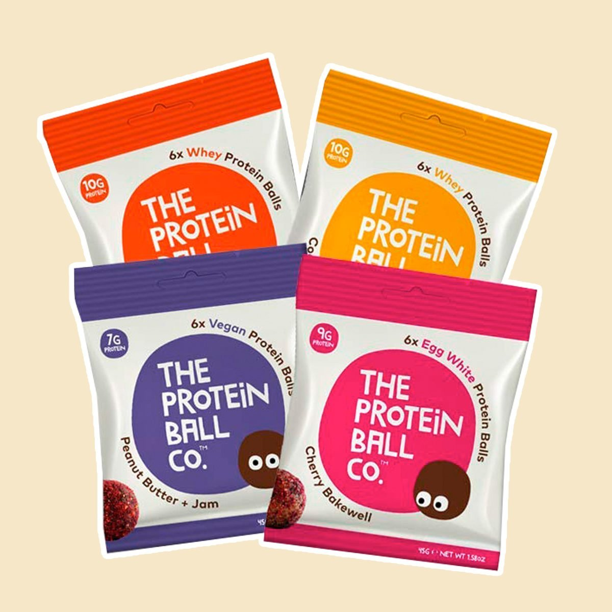 The Protein Ball Co. Keto Protein Bites | 12 Pack Variety | Peanut Butter Jam, Cherry Bakewell, Cocoa Orange, Coconut Macadamia | All Natural, Gluten Free, Vegetarian, Healthy High Protein Snacks