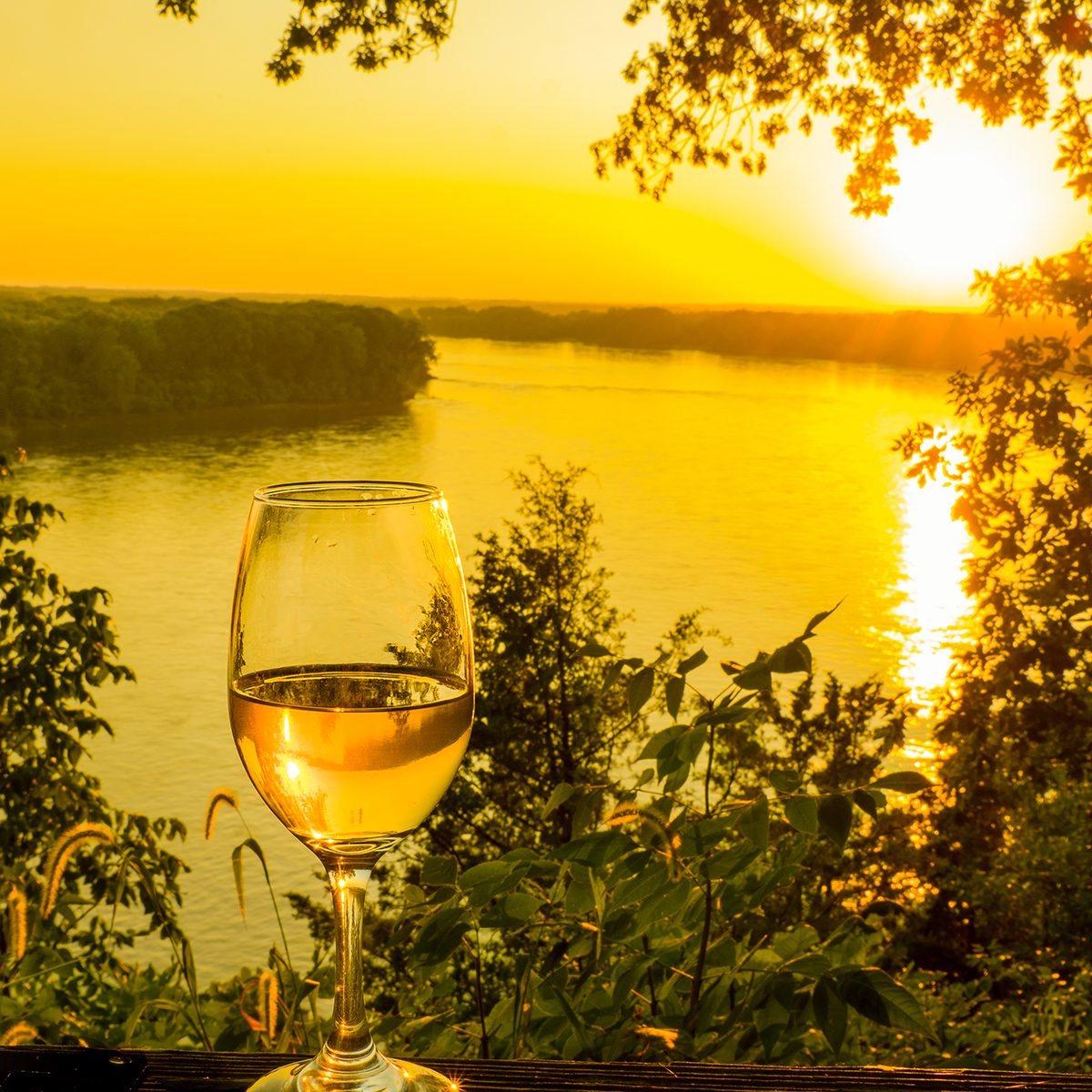 Beautiful view of glass of wine at sunset