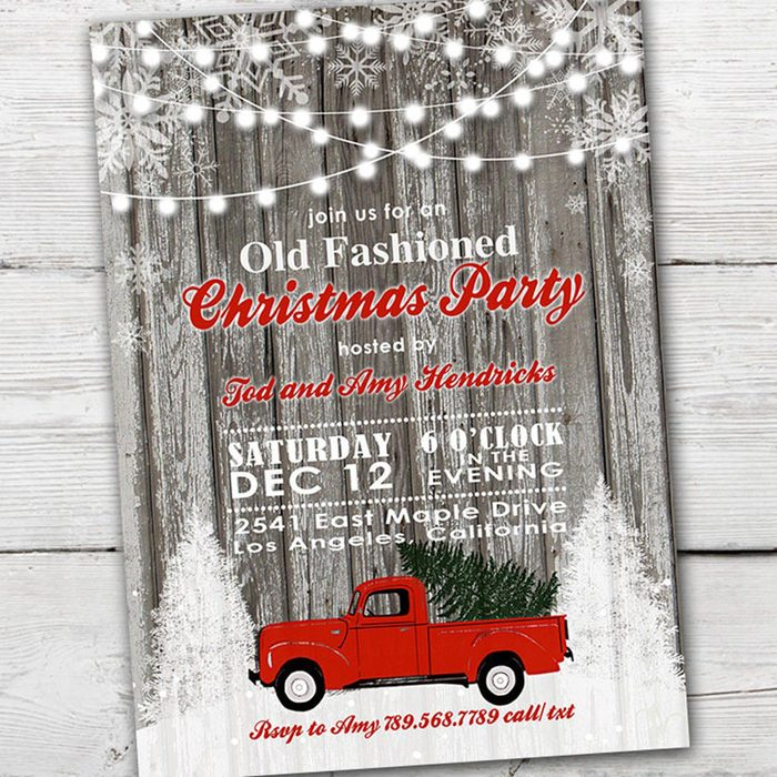 Red Truck Christmas Party Invitation, Red Truck Christmas Party, Old Fashioned Christmas Invitation, Christmas Party Invitation Red Truck