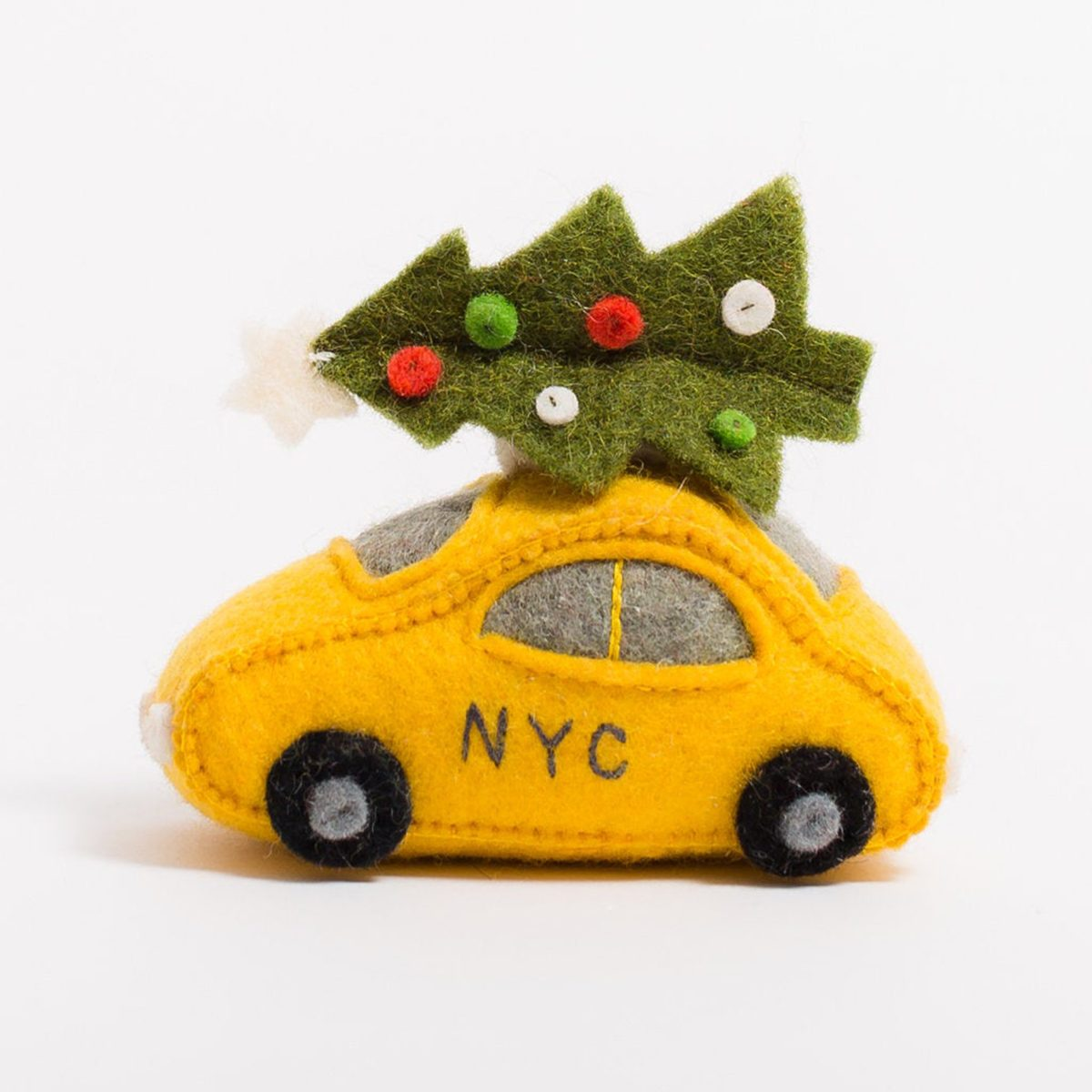 Felt Taxi Ornament, Holiday Taxi, Felt Christmas Ornament