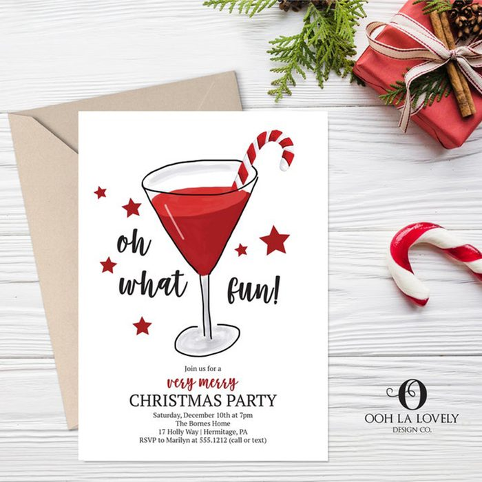 Oh What Fun Christmas Party Invitation, Holiday Cocktail Party Invitation, Christmas Cocktail Party Invitation, e328