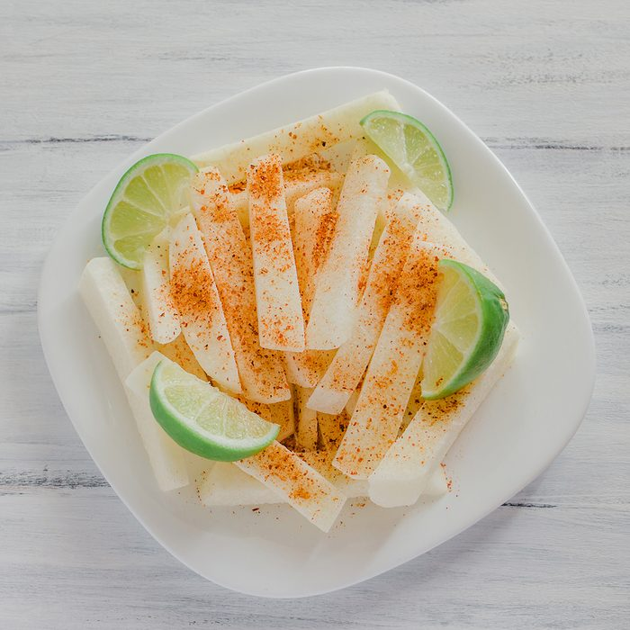jicama con chile, mexican snack, fruit, turnip, food in mexico jicamas lemon vegetable