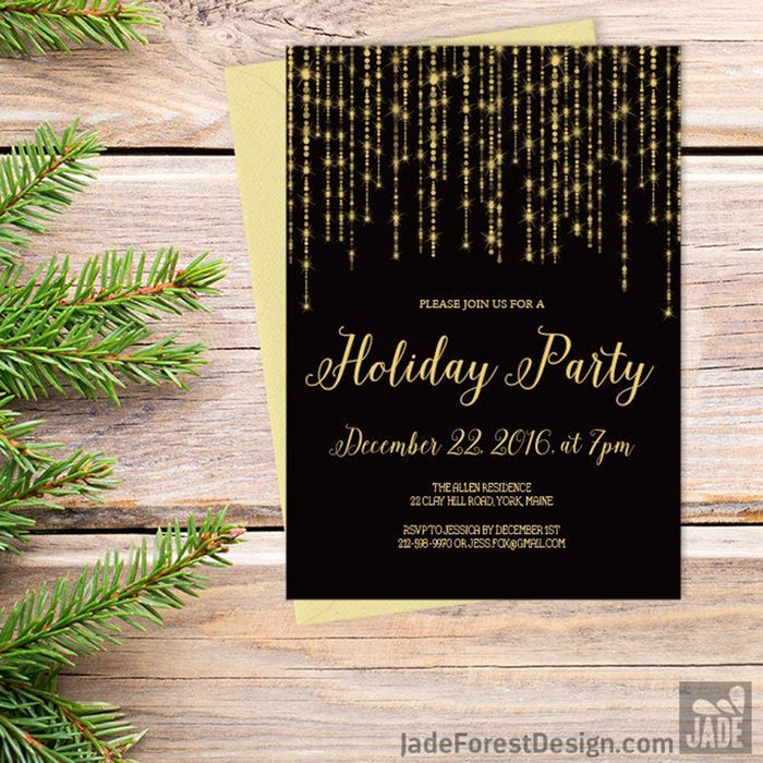 Elegant Holiday Party Invitation DIY / Christmas, Great Gatsby Bokeh String Light Sparkle / Black and Gold Calligraphy ▷ Printable Invite