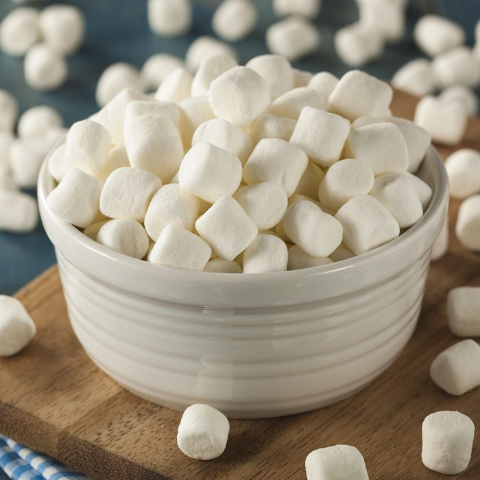 bowl of marshmallows for a family christmas game