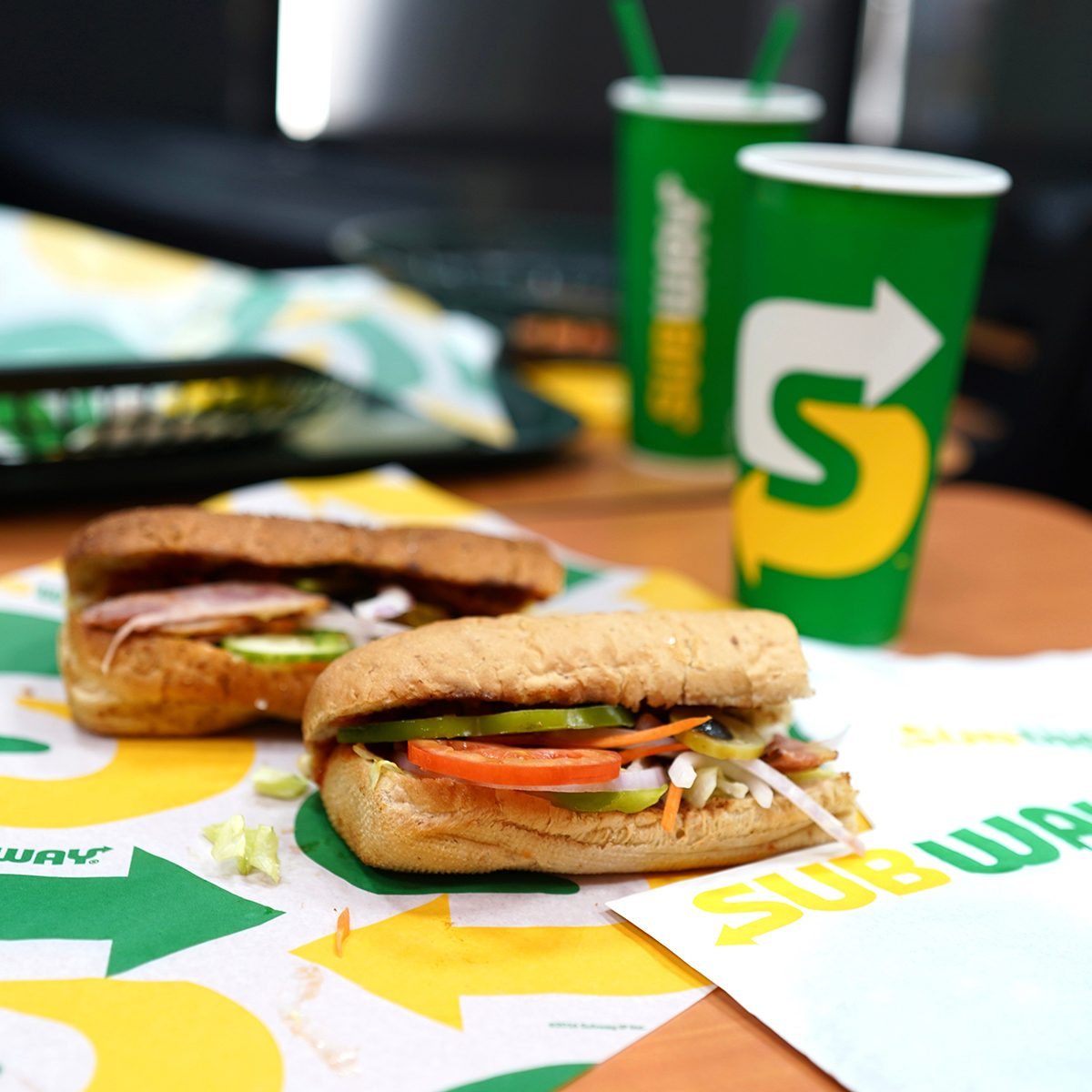 Subway sandwich meal and drinks