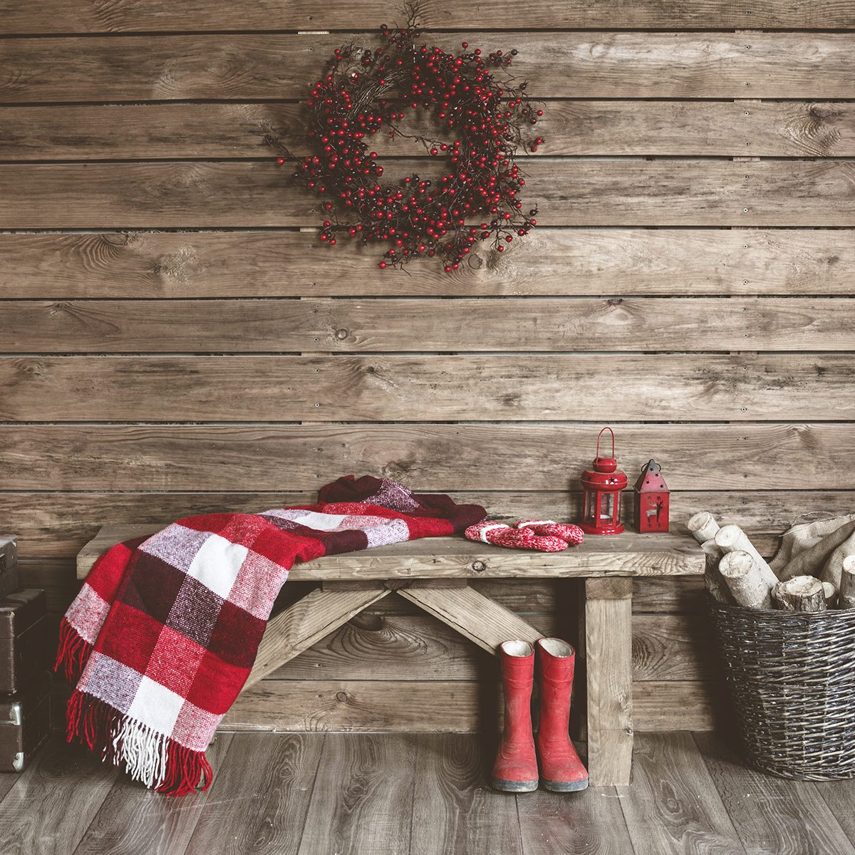 Winter home decor. Christmas rustic interior.