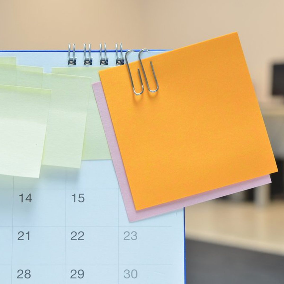 Post-it notes on calendar