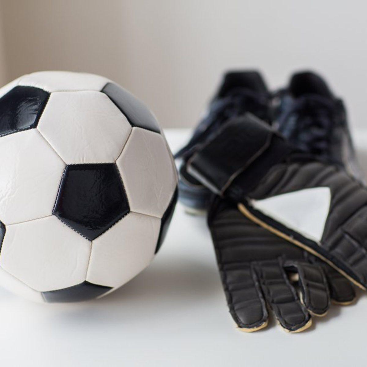 Soccer ball and gloves