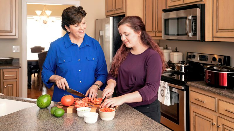 Deborah enjoys teaching cooking skills and offering hope to young women like her daughter Abby.