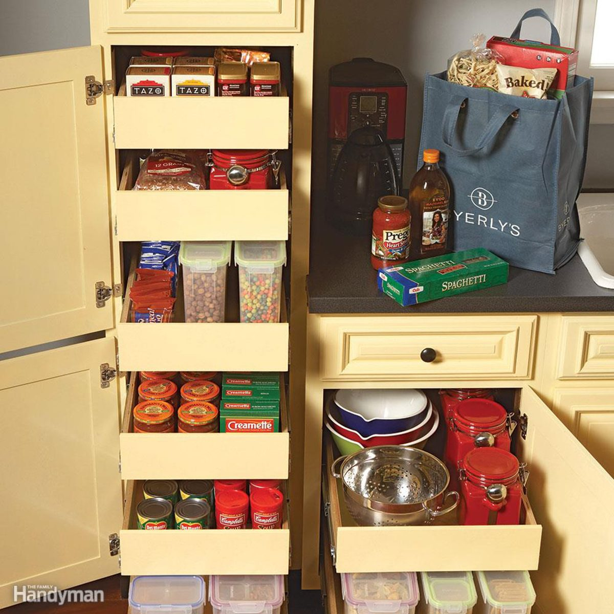 Multiple roll-out drawers filled with items