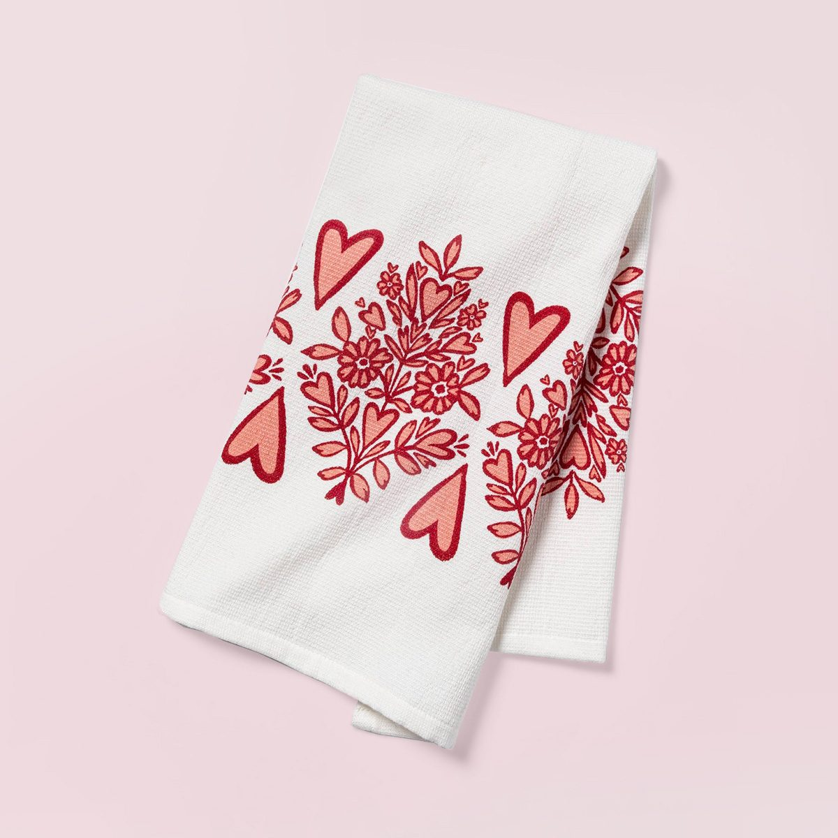 Red Heart Banner Dual Sided Terry Kitchen Towel - Opalhouse