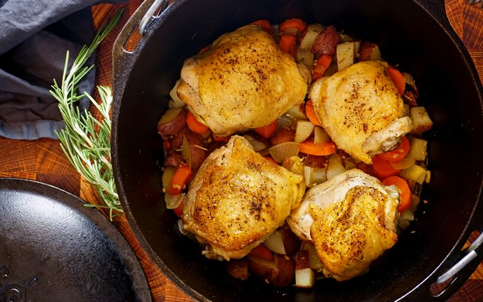 Cooked dutch oven chicken thighs after baking