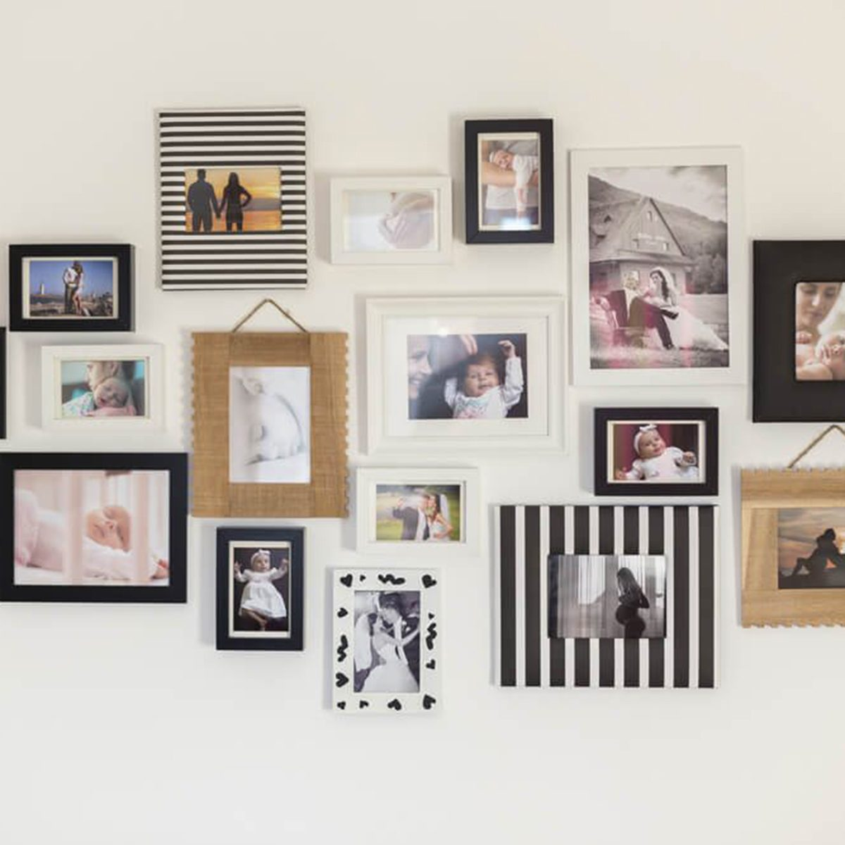 Tons of frames photos together on a wall