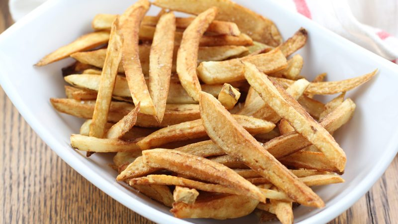 horizontal photo of finished french fries