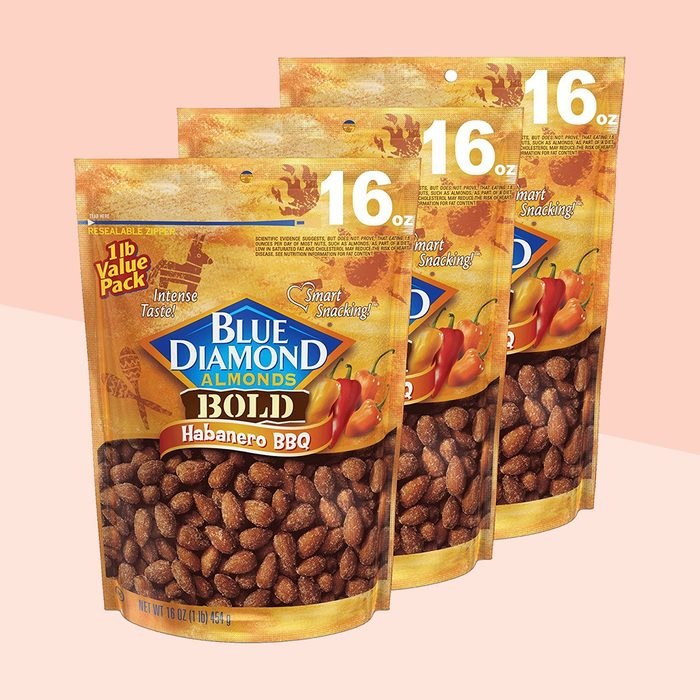 Blue Diamond Almonds Habanero BBQ Flavored Snack Nuts, 16 Oz Resealable Bag (Pack of 3)
