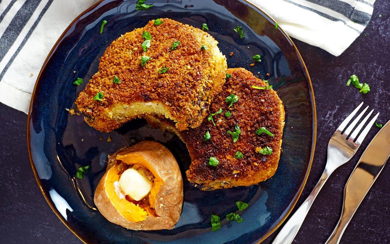perfectly fried pork chops overhead