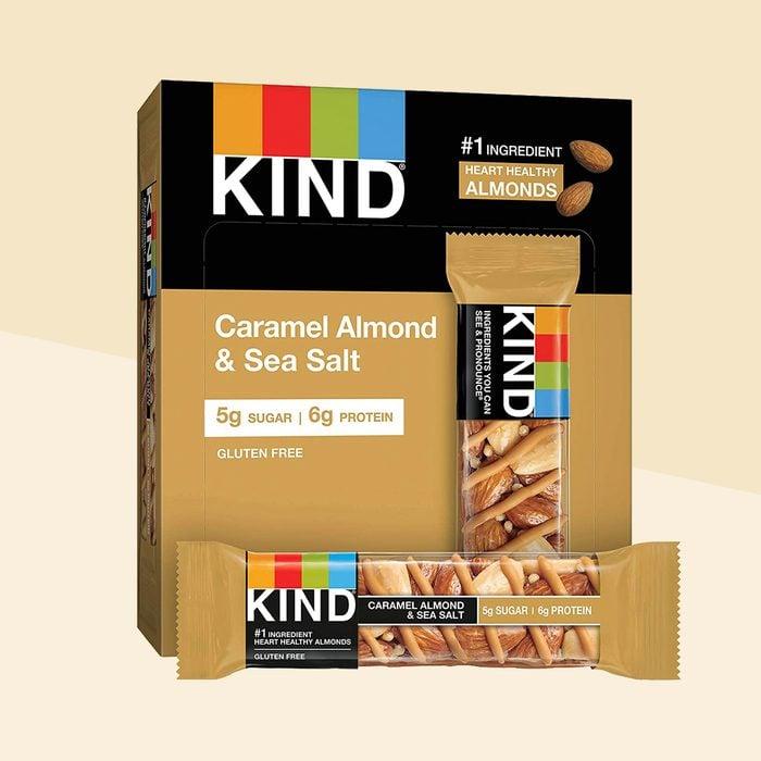 KIND Healthy Snack Bar, Caramel Almond & Sea Salt, 5g Sugar   6g Protein, Gluten Free Bars, 1.4 Oz, 12 Count