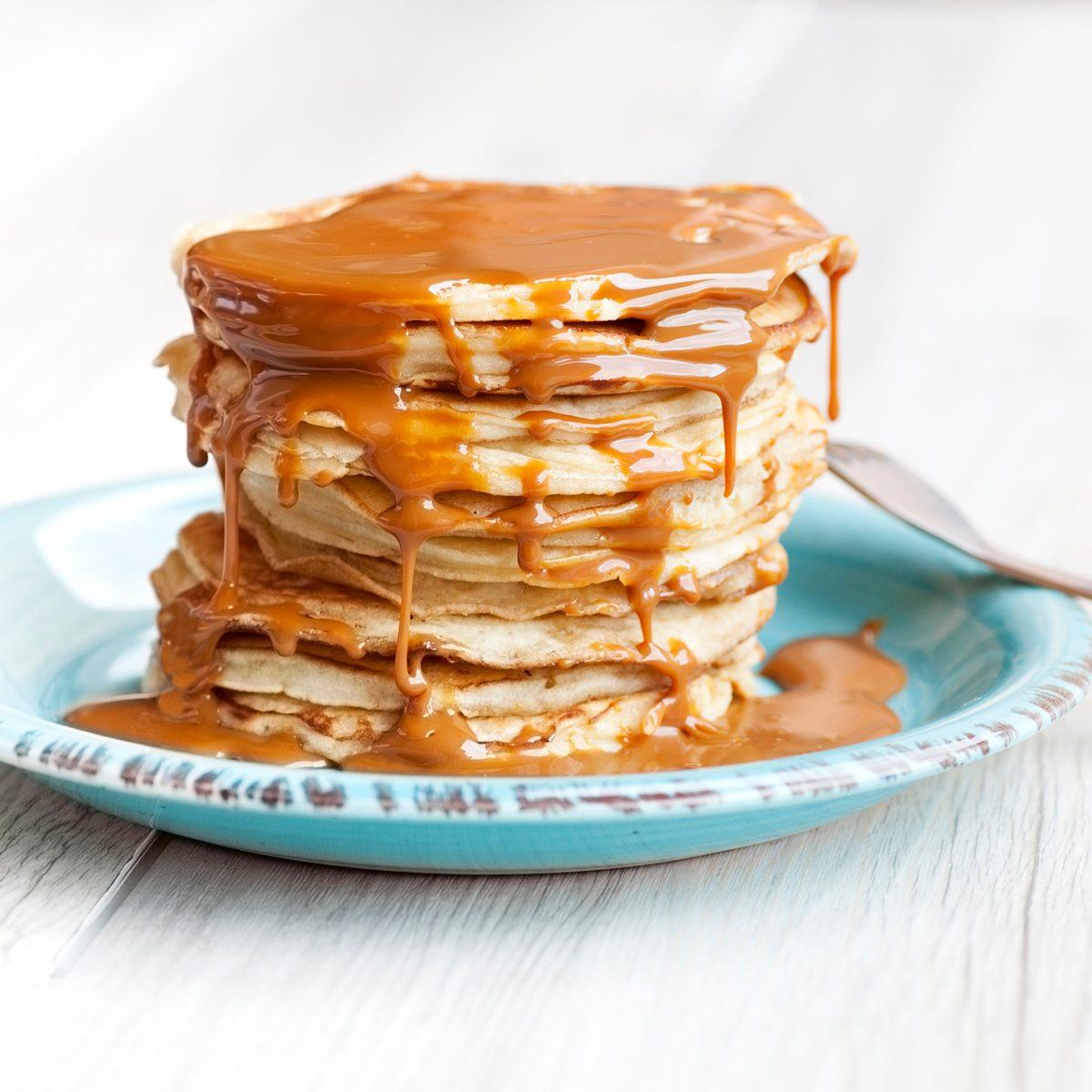 Pancakes with caramel sauce