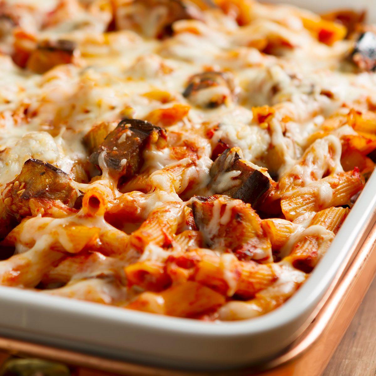 The classic Sicilian dish made with rigatoni pasta, fresh eggplant, onion, basil, olive oil, and mozzarella cheese.