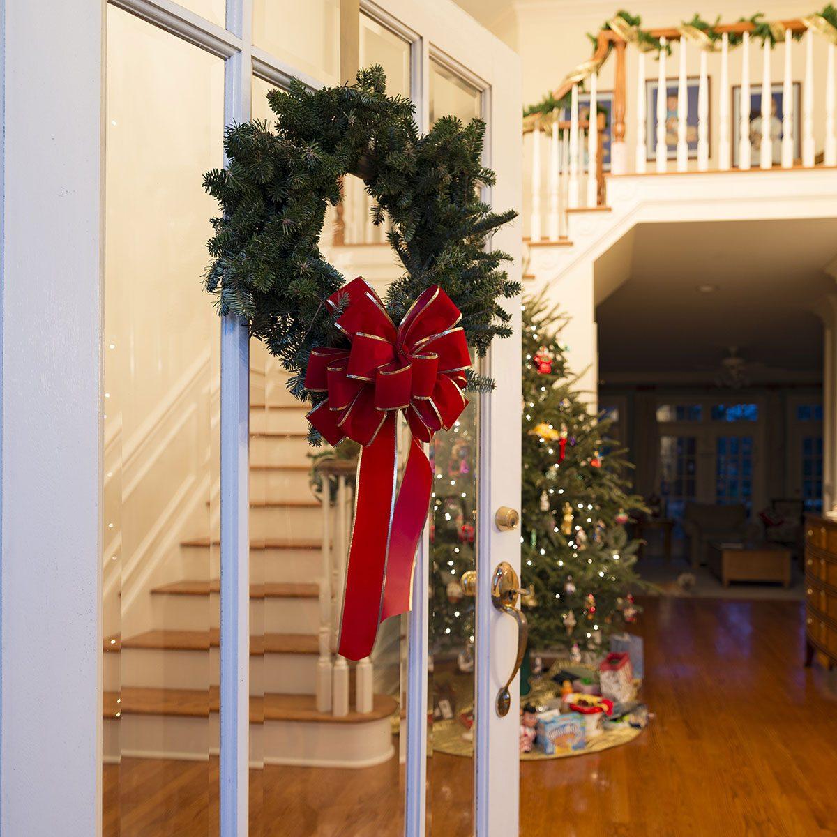 Wreath on entryway door