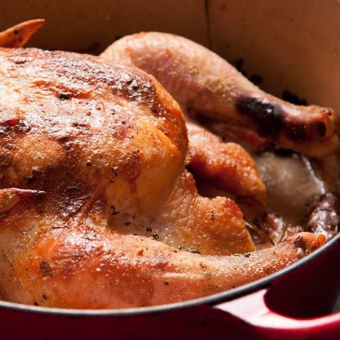 whole roasted chicken in lemongrass and coconut milk, dutch oven