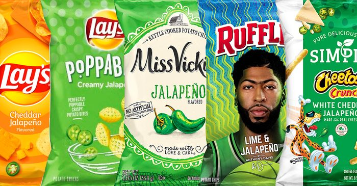 Cheddar Jalapeno Lay's Creamy Jalapeno Lay's Poppables Lime and Jalapeno Ruffles Crunchy White Cheddar Jalapeno Cheetos Red Rock Deli Fire-Roasted Jalapeno Chips