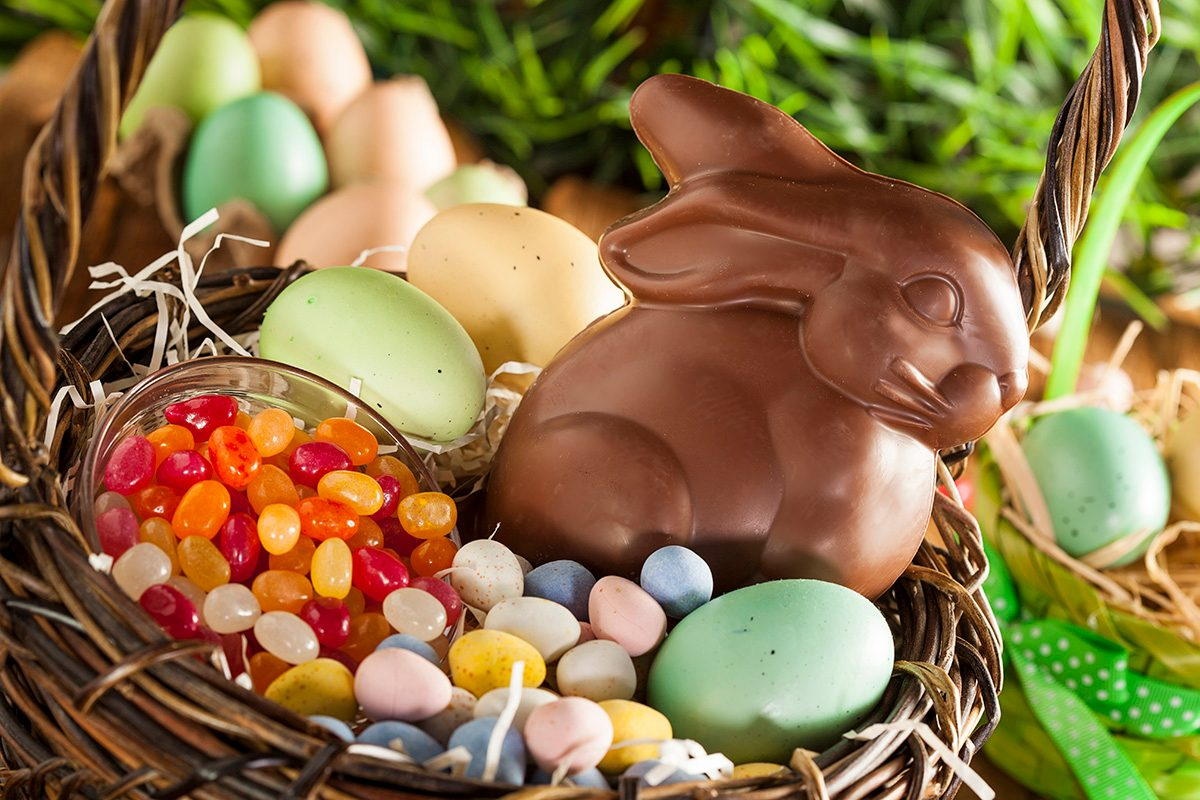 Chocolate Easter Bunny in a Basket with Assorted Candy