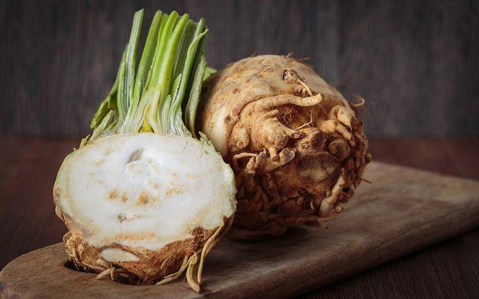 Fresh raw celeriac for an healthy nutrition
