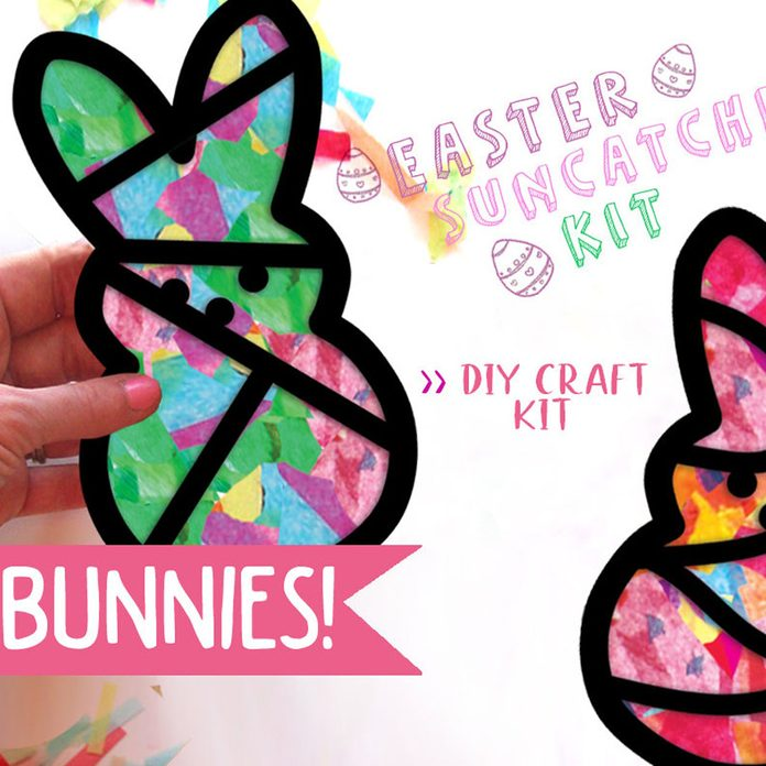 easter basket stuffers Bunnies Kids Craft Easter Stained Glass