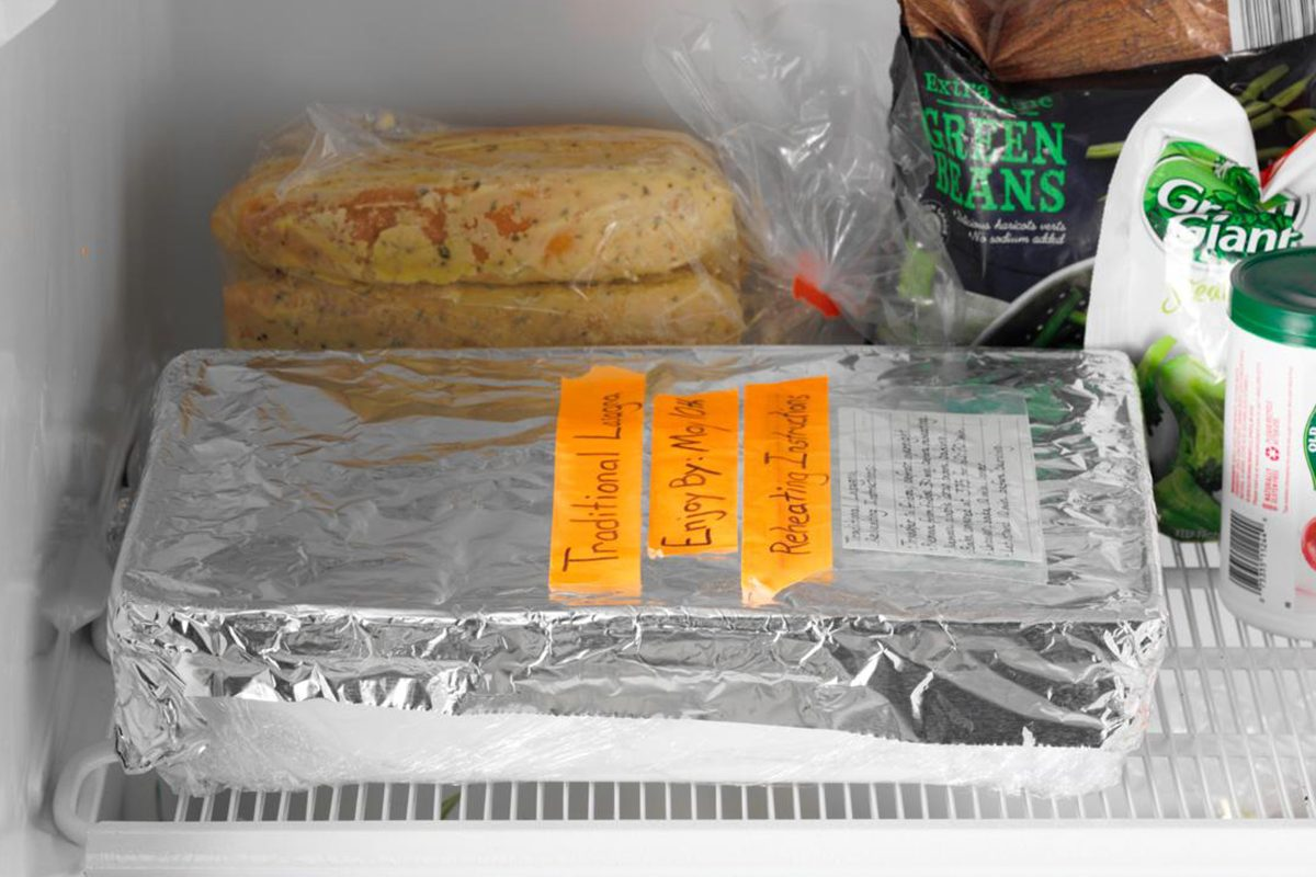 How to Freeze Lasagna AP; how to;freezer interior; freezer stocked with product; aluminum wrapped lasgana; lasagna pan; 13x9