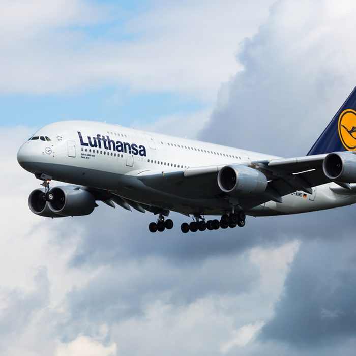 FRANKFURT,GERMANY-AUGUST 23:Airbus A380 LUFTHANSA approaching airport. Largest passenger aircraft. Lufthansa aircraft. Biggest passenger aircraft on August 23,2014 in Frankfurt,Germany.; Shutterstock ID 331362752; Job (TFH, TOH, RD, BNB, CWM, CM): RD