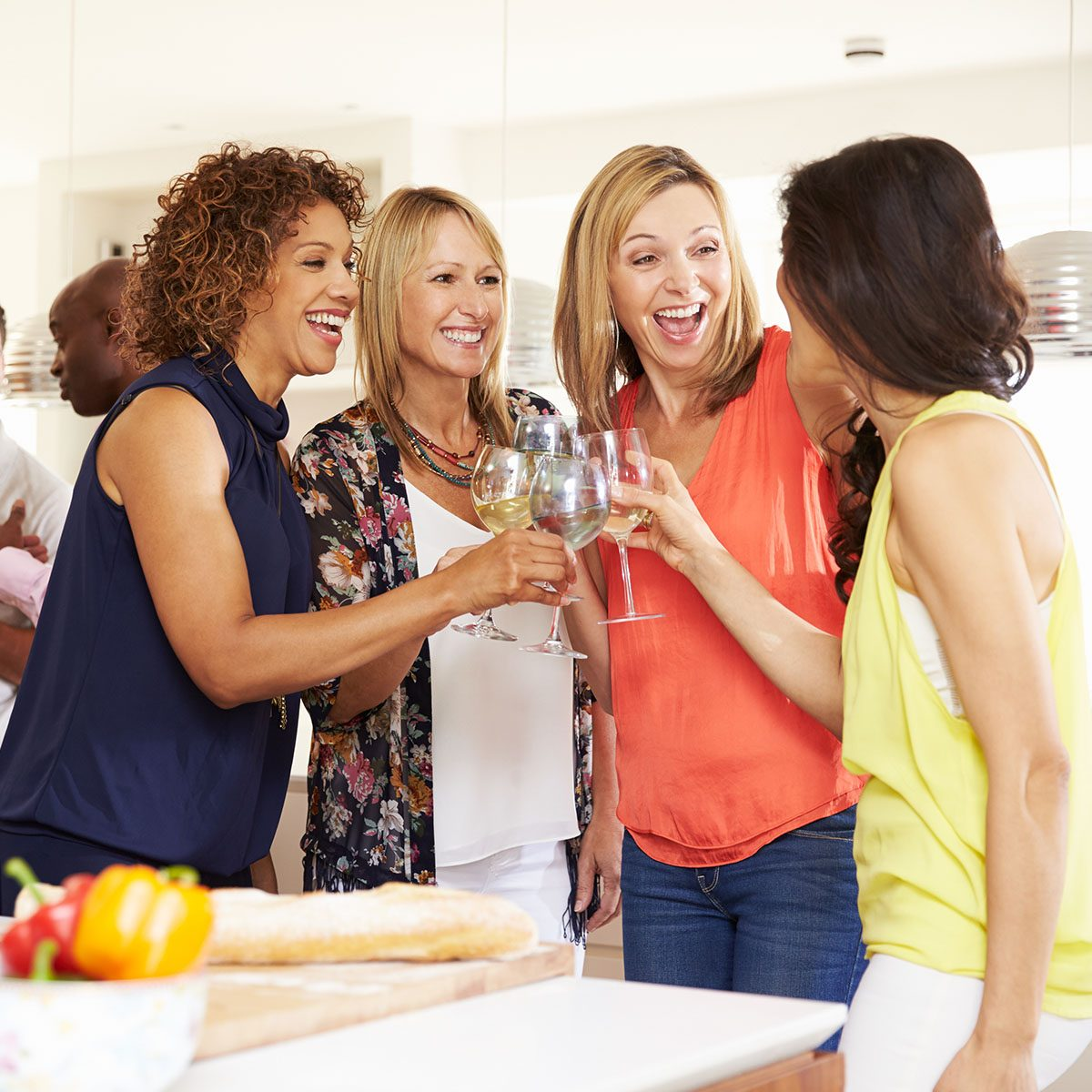 Group Of Mature Friends Enjoying Dinner Party At Home; Shutterstock ID 341021330; Job (TFH, TOH, RD, BNB, CWM, CM): tfh