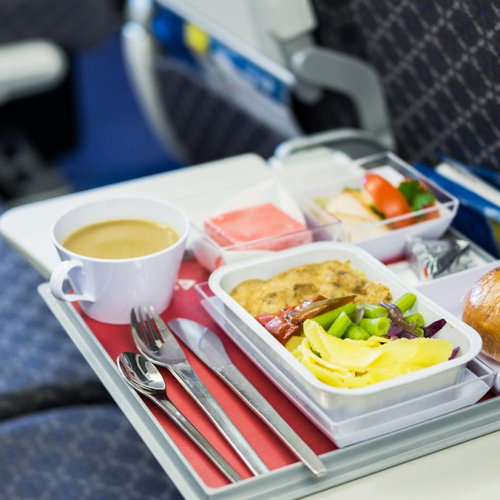 Food served on board of economy class airplane on the table; Shutterstock ID 549570664; job: Job (TFH, TOH, RD, BNB, CWM, CM)