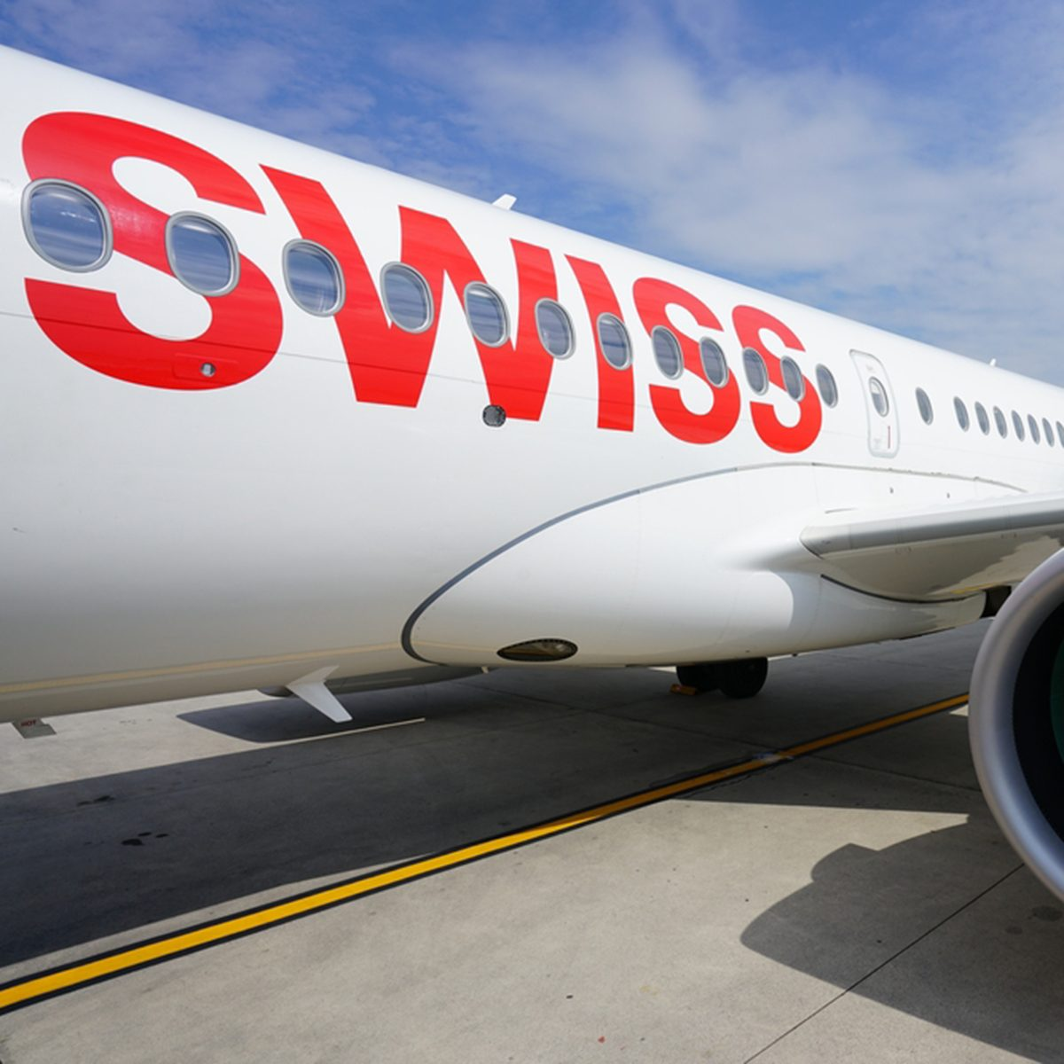 VENICE, ITALY-20 APR 2017- Exterior view of a Bombardier CS100 airplane from Swiss international airline Swiss (LX). Swiss was the launch customer for the Bombardier C series plane.; Shutterstock ID 630327968; Job (TFH, TOH, RD, BNB, CWM, CM): RD
