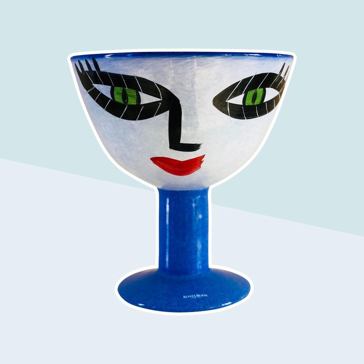 Ulrica Hydman-Vallien Kosta Boda Hand-Painted Face Vase