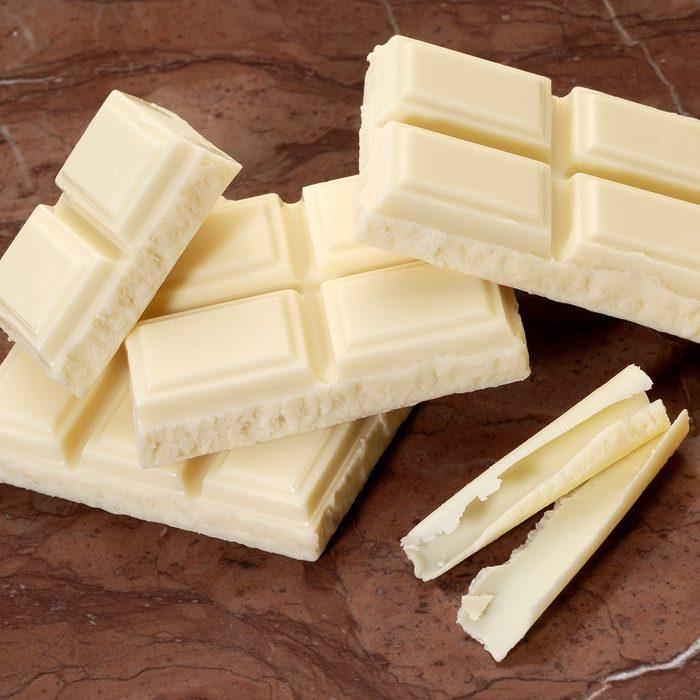 White chocolate chunks and curls.