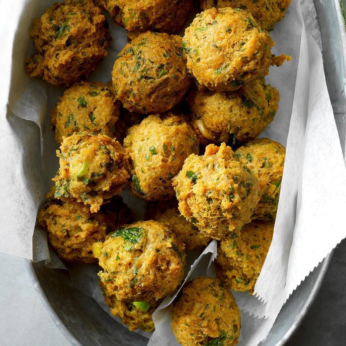 Air-Fryer Chickpea Fritters with Sweet-Spicy Sauce