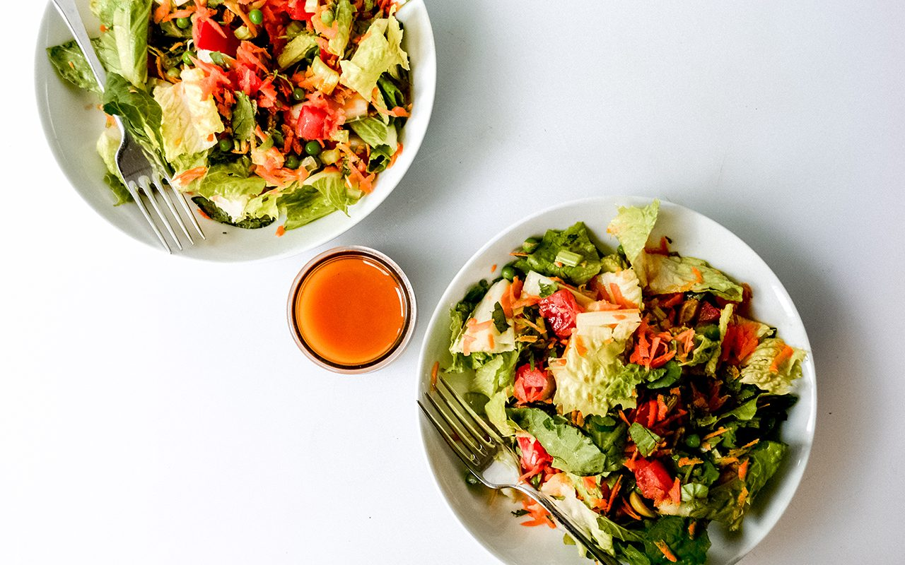 2 bowls with dressing overhead