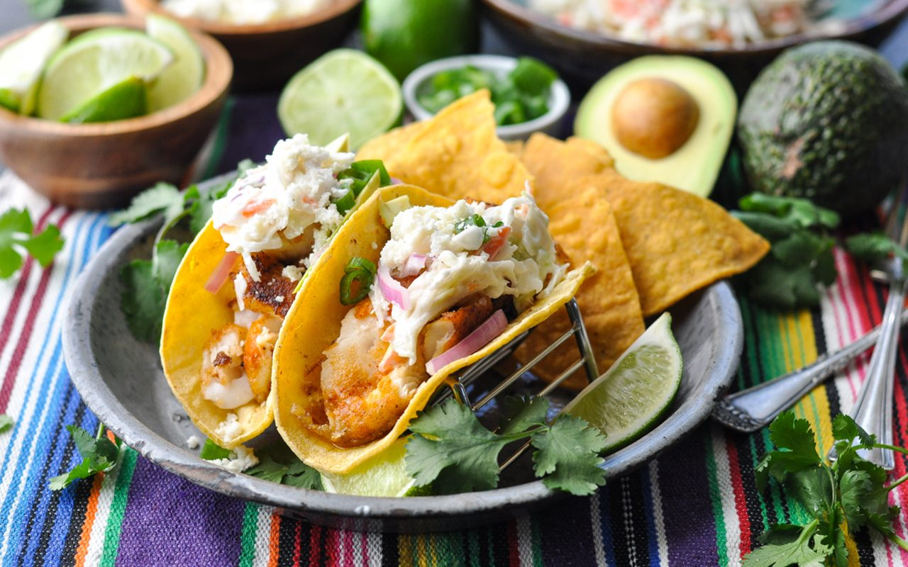Easy fish tacos with all the toppings