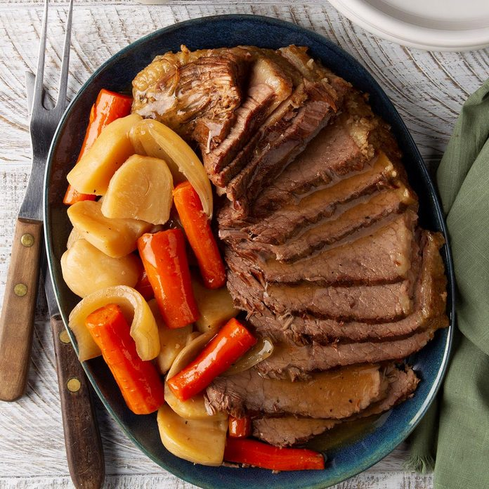 Easy Slow Cooker Pot Roast Recipe How To Make It Taste Of Home