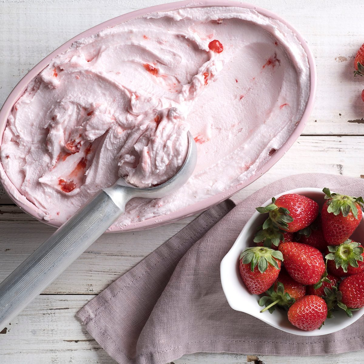 Delicious strawberry ice cream for a hot summer day.