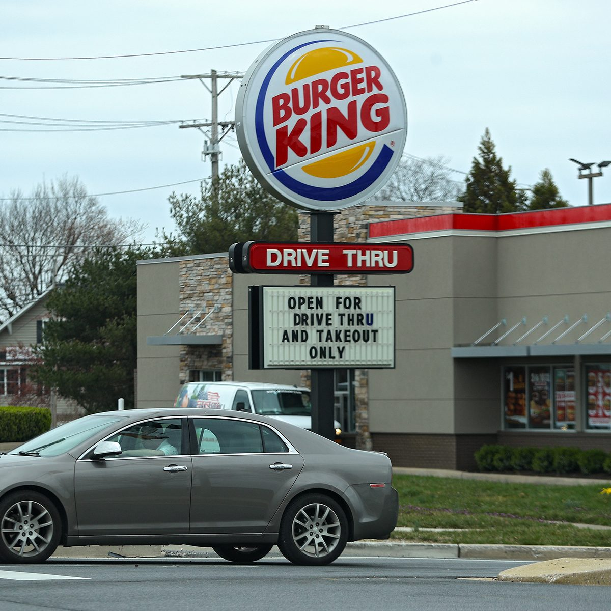 MOUNT AIRY, MARYLAND - MARCH 18: A Burger King restaurant displays a sign reading 'Open for Drive Thru and Takeout Only' amid the coronavirus outbreak on March 18, 2020 in Mount Airy, Maryland. Maryland Gov. Larry Hogan ordered the closure of bars and restaurants, in an effort to slow the spread of the COVID-19 pandemic. (Photo by Patrick Smith/Getty Images)