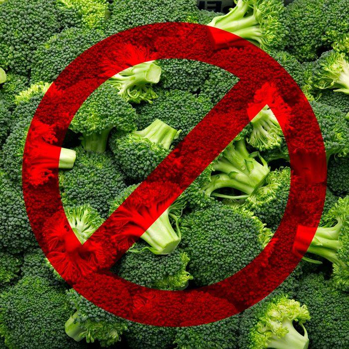 Fresh cut broccoli that makes a pattern