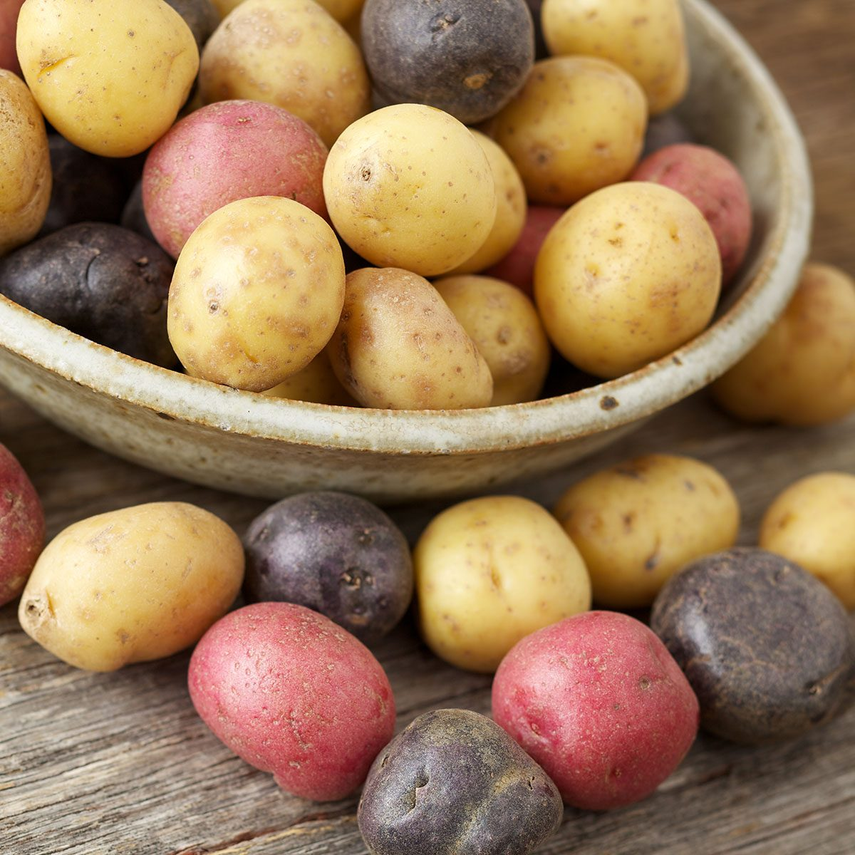 Natural light photo of raw multi-colored small raw potatoes on wood surfacePlease view more rustic food images here: