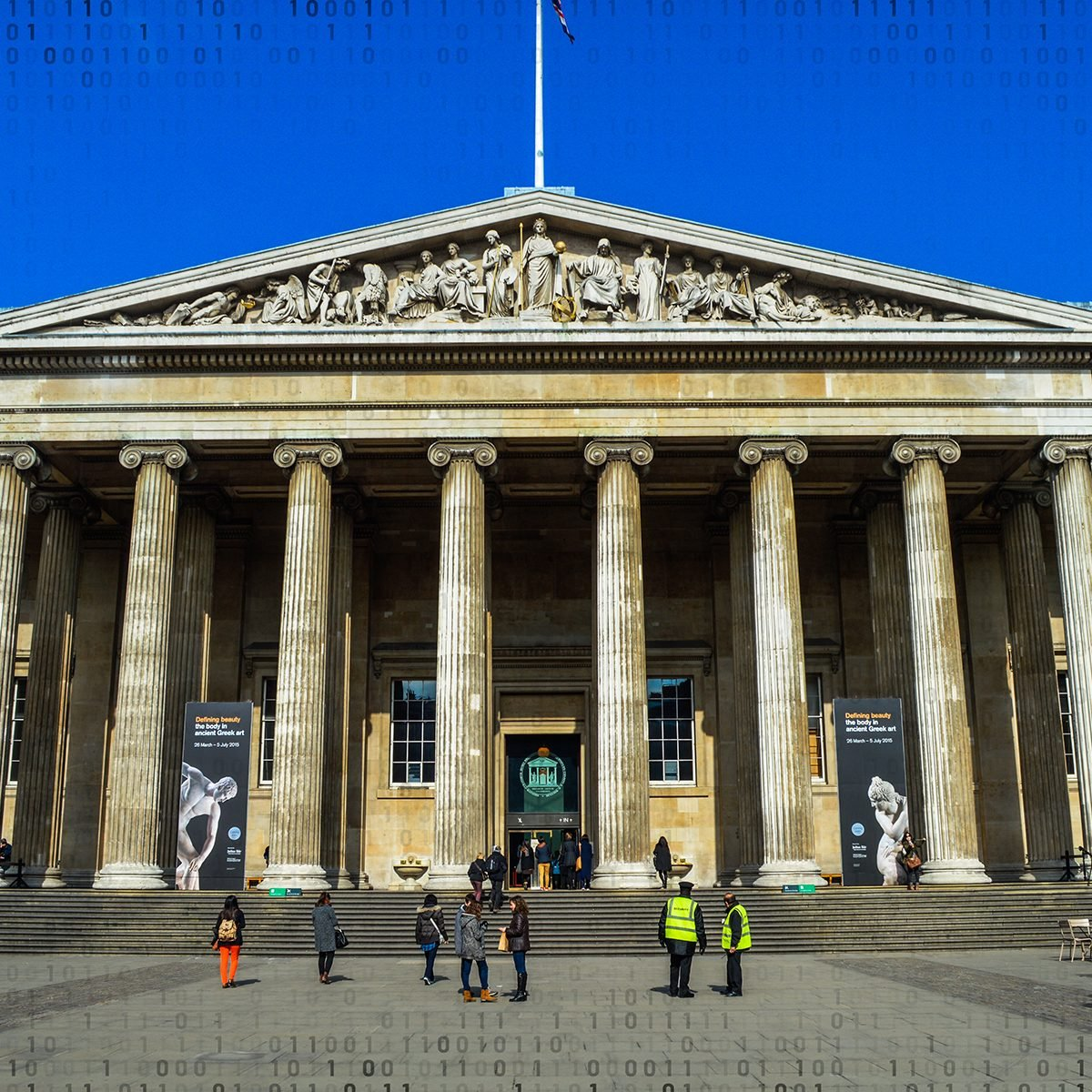 London, UK - March 23, 2015: The British Museum in central London. Photo taken outside and contains several museum-goers.