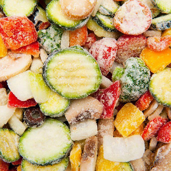 Close up of frozen vegetables